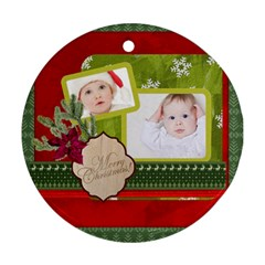 Merry Christmas By Betty   Round Ornament (two Sides)   47t3cg7rqzdd   Www Artscow Com Front