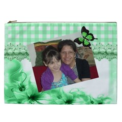 Green Gingham And Floral Cosmetic Bag (xxl) By Kim Blair   Cosmetic Bag (xxl)   Agtoc7zyneuj   Www Artscow Com Front
