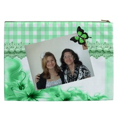 Green Gingham And Floral Cosmetic Bag (xxl) By Kim Blair   Cosmetic Bag (xxl)   Agtoc7zyneuj   Www Artscow Com Back