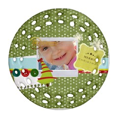 Merry Christmas By Jo Jo   Round Filigree Ornament (two Sides)   Rz8kpzhrsr22   Www Artscow Com Front