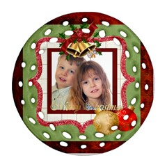 Merry Christmas By Jo Jo   Round Filigree Ornament (two Sides)   Lsabbsfglmh5   Www Artscow Com Front