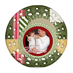 Merry Christmas By Jo Jo   Round Filigree Ornament (two Sides)   Wzqpn0r851w3   Www Artscow Com Front