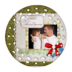 Merry Christmas By Jo Jo   Round Filigree Ornament (two Sides)   Gwefud8rh0wh   Www Artscow Com Front