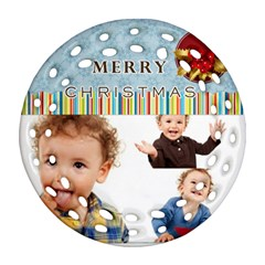 Merry Christmas By Jo Jo   Round Filigree Ornament (two Sides)   Zak1tjrr68o6   Www Artscow Com Front