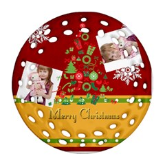 Merry Christmas By Jo Jo   Round Filigree Ornament (two Sides)   4j691rv0k55y   Www Artscow Com Back