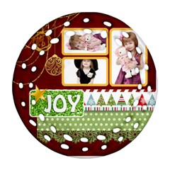 Merry Christmas By Jo Jo   Round Filigree Ornament (two Sides)   Qlcofzxewctx   Www Artscow Com Front
