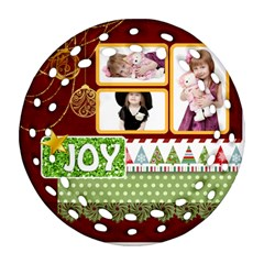 Merry Christmas By Jo Jo   Round Filigree Ornament (two Sides)   Qlcofzxewctx   Www Artscow Com Back