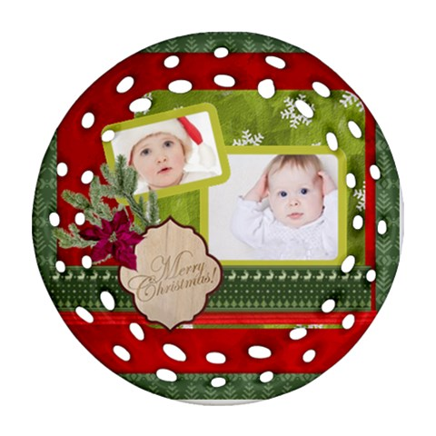 Merry Christmas By Betty   Ornament (round Filigree)   F23extpni7x9   Www Artscow Com Front