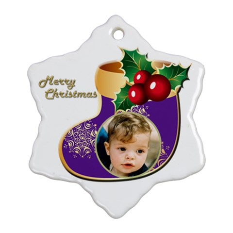Merry Christmas Stocking Snowflake Ornament By Deborah   Ornament (snowflake)   Rj0h6qqkqh8b   Www Artscow Com Front