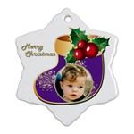 Merry Christmas Stocking Snowflake Ornament - Ornament (Snowflake)