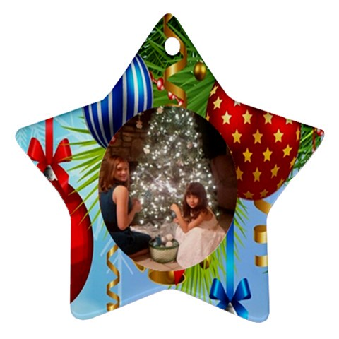 Blue Christmas Star Ornament One Side By Kim Blair   Ornament (star)   Uvjuy9m7gwcg   Www Artscow Com Front