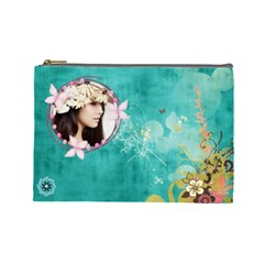 Elegance Blue Cosmetic Bag (large) By Joanne5   Cosmetic Bag (large)   Ktttkw5jy6nj   Www Artscow Com Front