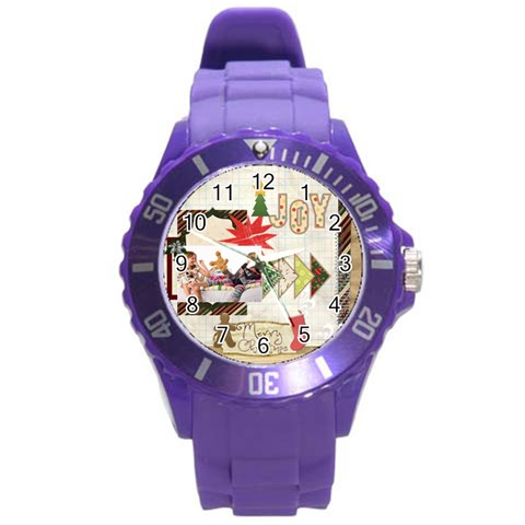 Merry Chrisrmas By Betty   Round Plastic Sport Watch (l)   Uyq8ck6y3hzm   Www Artscow Com Front