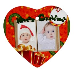 Merry Christmas By Betty   Heart Ornament (two Sides)   Op5qwlawmrmz   Www Artscow Com Front