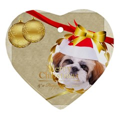Merry Christmas By Betty   Heart Ornament (two Sides)   Qbckvm4qimxs   Www Artscow Com Front