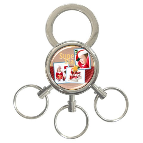 Merry Christmas By Mac Book   3 Ring Key Chain   N7fbqqphf3aq   Www Artscow Com Front