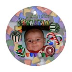 Baby s First Christmas Round Green 2012 - Ornament (Round)