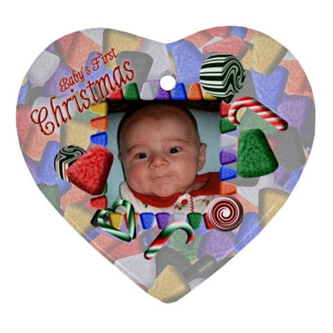 Baby s First Christmas By Chere s Creations   Ornament (heart)   S1bqe5d6ib6y   Www Artscow Com Front