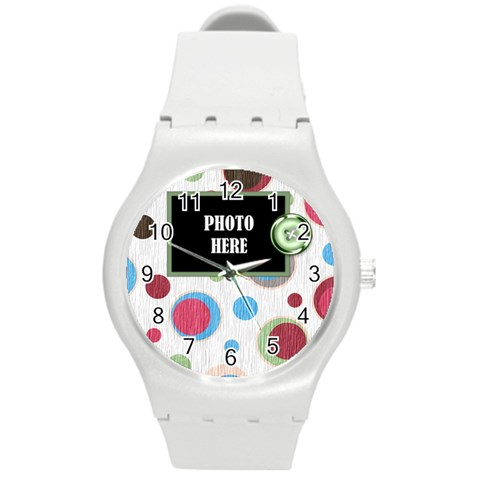Bloop Bleep Plastic Watch 1 By Lisa Minor   Round Plastic Sport Watch (m)   14s1zdegszpv   Www Artscow Com Front