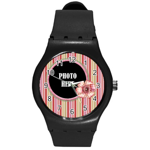 Sock Monkey Love Plastic Watch 1 By Lisa Minor   Round Plastic Sport Watch (m)   Tedc5898j9bv   Www Artscow Com Front