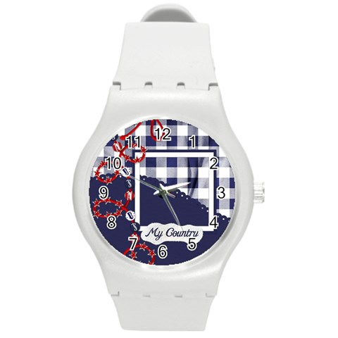 My Country Plastic Watch 1 By Lisa Minor   Round Plastic Sport Watch (m)   Yobuzjsjub6j   Www Artscow Com Front