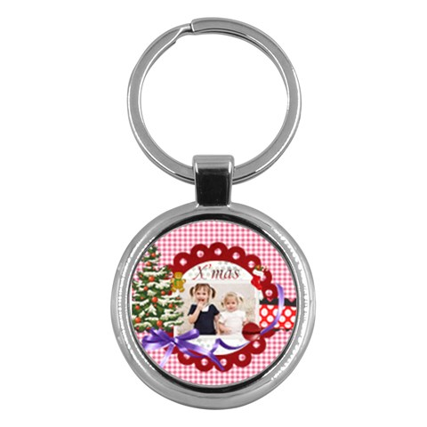 Merry Christmas By Joely   Key Chain (round)   Uat6it57nyoa   Www Artscow Com Front