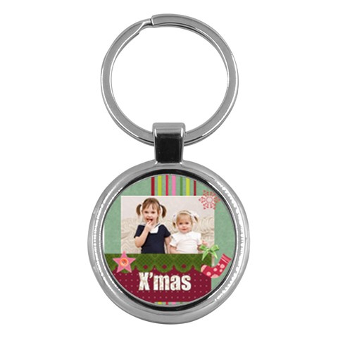 Merry Christmas By Joely   Key Chain (round)   Elyuojcdsu6e   Www Artscow Com Front