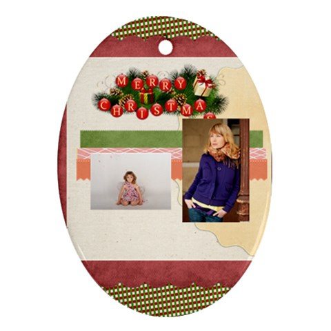 Merry Christmas By Anita   Ornament (oval)   0cxuutyixcjq   Www Artscow Com Front