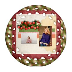 Merry Christmas By Anita   Round Filigree Ornament (two Sides)   1kj4c0gbz79y   Www Artscow Com Front