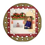 merry christmas - Round Filigree Ornament (Two Sides)