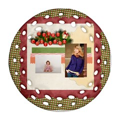 Merry Christmas By Anita   Round Filigree Ornament (two Sides)   1kj4c0gbz79y   Www Artscow Com Back