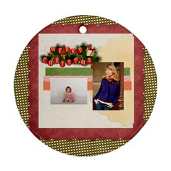 Merry Christmas By Anita   Round Ornament (two Sides)   Unqrwrgwtrgt   Www Artscow Com Front