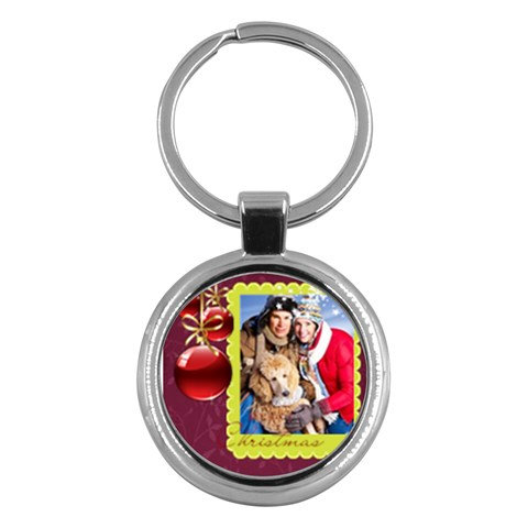Merry Christmas By Angena Jolin   Key Chain (round)   Vyx1r5vv2pao   Www Artscow Com Front