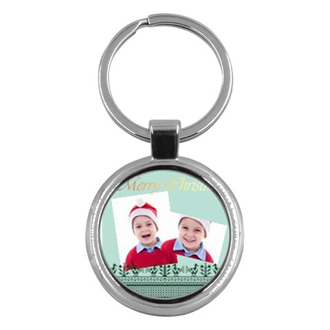 Merry Christmas By Clince   Key Chain (round)   8765ywblzsgm   Www Artscow Com Front