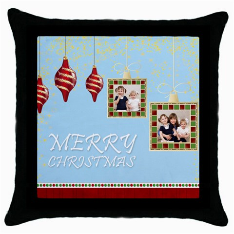 Merry Christmas By Joely   Throw Pillow Case (black)   Dv07k4aoy2v9   Www Artscow Com Front
