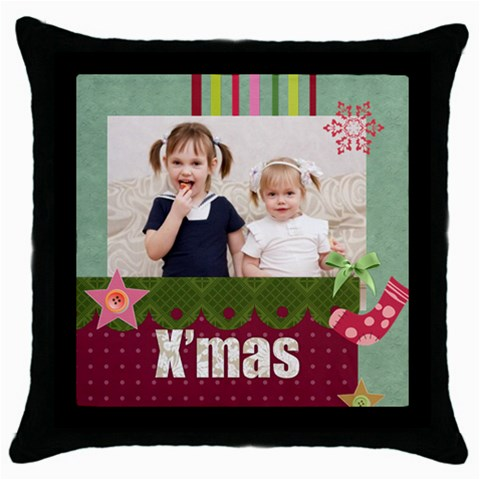 Merry Christmas By Joely   Throw Pillow Case (black)   Q9mcvcg0960o   Www Artscow Com Front