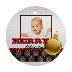 Merry Christmas By Wood Johnson   Round Ornament (two Sides)   Ulrzfamm5t7b   Www Artscow Com Front