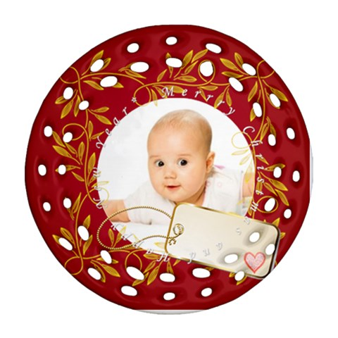 Merry Christmas By Wood Johnson   Ornament (round Filigree)   99x63zqymznd   Www Artscow Com Front