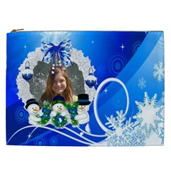 Blue Winter Swirl And  Cosmetic Bag (xxl) By Kim Blair   Cosmetic Bag (xxl)   I6b1mdym5vwn   Www Artscow Com Front