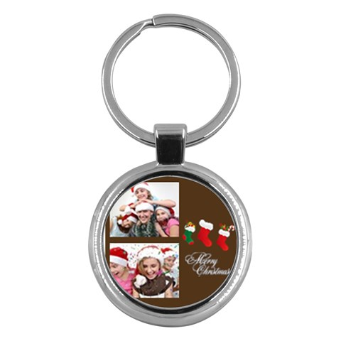 Merry Christmas By M Jan   Key Chain (round)   9abdq6b1tz1u   Www Artscow Com Front