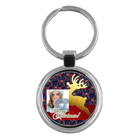 Merry Christmas By M Jan   Key Chain (round)   Ozk17tz7tnni   Www Artscow Com Front