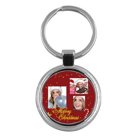 Merry Christmas By M Jan   Key Chain (round)   Zw6y39ukrrdo   Www Artscow Com Front