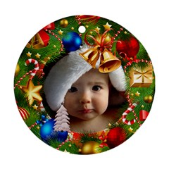 Christmas By Joanne5   Round Ornament (two Sides)   Zcetfg7lu1cr   Www Artscow Com Front