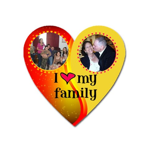 I Love My Family Red And Gold Heart Magnet By Kim Blair   Magnet (heart)   0lxg5u0mm3nd   Www Artscow Com Front