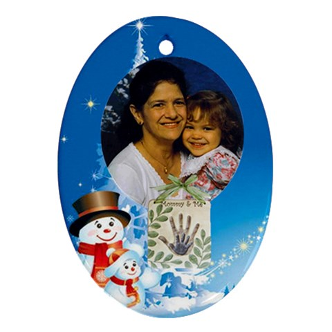 Blue  Mommy And Me Ornament Oval By Kim Blair   Ornament (oval)   Qut8ayqi84xq   Www Artscow Com Front
