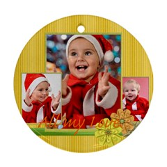 Merry Christmas By Man   Round Ornament (two Sides)   7cemxgeptz5z   Www Artscow Com Front