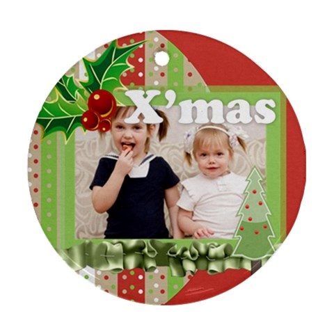 Merry Christmas, Happy New Year, Xmas By Joely   Ornament (round)   1id9yg7elzyo   Www Artscow Com Front