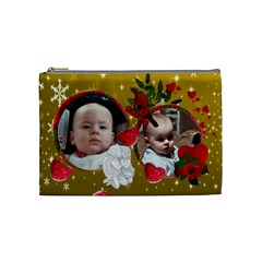 Red And Gold Cosmetic Bag Medium By Maryanne   Cosmetic Bag (medium)   G4zifr823nuh   Www Artscow Com Front