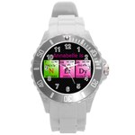 Nerdy Science watch - Round Plastic Sport Watch (L)