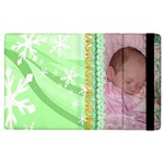 Green snow flake Apple iPad 3 flip case - Apple iPad 3/4 Flip Case